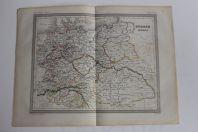 Carte géographique d'Europe centrale 1853