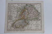 Carte géographique Deutschland Schweiz Stieler's Schul Atlas 1836