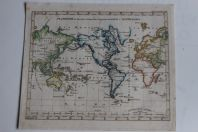 Carte Planiglob in Mercators projection Stieler's Schul Atlas 1841