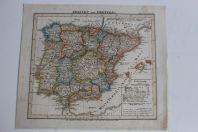 Carte géographique Spanien Portugal Stieler's Schul Atlas