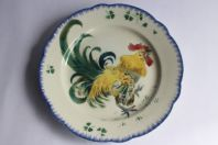 Assiette en céramique XIXe Lunéville K&G Les Coqs