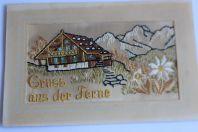 Carte postale Suisse Gruss aus der Ferme soie brodée