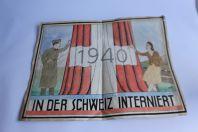 Dessin original aquarellé militaire interné français en Suisse 1940