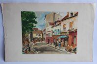 Grande lithographie signée Paris Montmartre