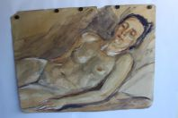 DE ZIEGLER Charles Aquarelle originale Femme nue