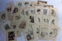 Lot de 28 anciennes Cartes de vœux gravées 1880 - 1915