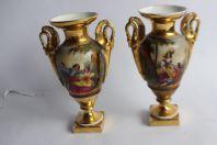Paire de vases porcelaine Vieux Paris Empire
