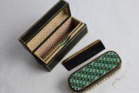 Nécessaire de voyage brosse perlé verre + peigne XIXe siècle