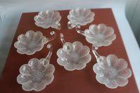 Anciennes coupelles à glace en cristal givré (x 7)