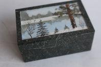 Boîte a bijoux marbre vert paysage d'hiver sablé