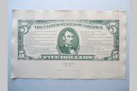 Billet géant 5 Dollars Abraham Lincoln Lithographie