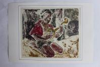 Aquarelle originale Afrique femme musqiue