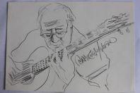 Dessin original musicien Jean Darbellay guitariste