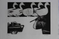 Gravure lithographiée Doroteo ARNÁIZ Dallas 3' O'Clock
