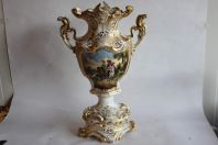 Grand vase de mariée porcelaine Paris Acanthes or peinture Napoléon III