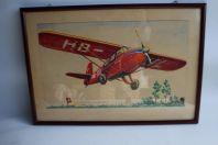 Aquarelle originale avion Suisse par R.Le Claire