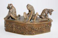 Christophe FRATIN boite bronze aux trois singes