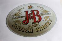 Plaque publicitaire verre églomisé Whisky J&B