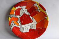 Grand plat céramique vernissée Gilbert Valentin archanges Vallauris
