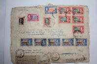 Enveloppe Iran par avion shah mohammed poste telegraphes 1950