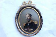 Portrait peinture sous verre Napoléon III