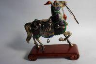 Chine cheval argent (vermeil) émaux polychromes jade