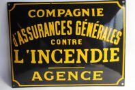 Plaque émaillée Compagnie d'Assurances Générales incendie