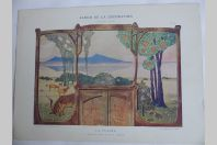 """Estampe """"La plaine"""" Dessus de porte E.-A. SEGUY Art nouveau"""