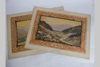 """Deux estampes """"Paysage"""" Louis CLERMONT Art nouveau"""