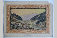 """Estampe """"La vallée"""" Paysage Louis CLERMONT Art nouveau"""