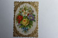 Chromo gaufré découpé fleurs 1890
