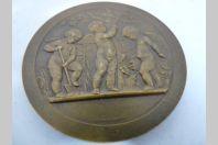 Médaille bronze anges jardiniers par Alphée Dubois fin XIXé siècle
