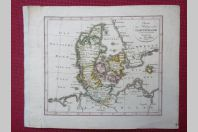 Gravure Carte Danemark époque 1820