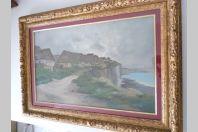 Aquarelle Augustin MALLET 1896 Paysage Falaises Bord de mer