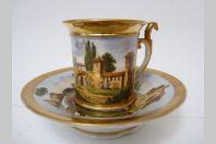 Tasse porcelaine XIXe siècle Style Empire