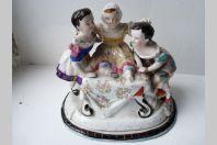 Encrier couvert porcelaine enfants XIXe siècle