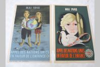 Affichettes ( 2 ) Nations Unies Enfance Vecon, Hove 1948