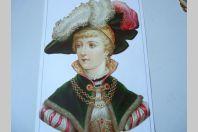 """Chromo """" Femme en costume  """" 1890"""