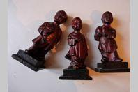 Trois anciennes statuettes en bois Chine