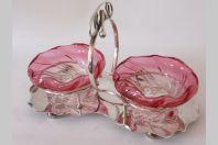 Coupelle double métal argenté/cristal Sheffield E.P.N.S Art Nouveau
