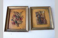 Deux anciens tableaux en cire Art populaire
