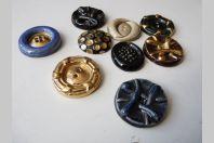 Lot de 9 boutons céramique vintage 1950