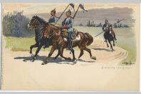 CPA militaire illustrée - Patrouille Dragoner