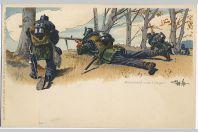 CPA militaire illustrée - Schutzenlinie (jager)